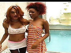 Red sexy shemale fucking from behind out of taking off her black hose
