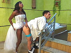 Ebon shemale bride pushing her gargantuan dick in the gazoo of hawt groom