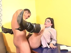 Beeing extremly horny and eager to fuck, filthy shemale recives hardcore deep anal from horny stud that makes him scream and tremble of hard  sensations that pleases him.