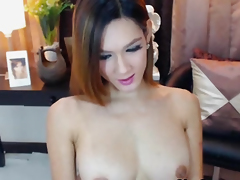 Busty Pretty Shemale Fingers like She has Pussy