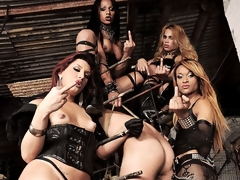 The dark Mistresses Avilla, Jackeline, Joy, Nicolly are at it again in their dungeon of pain. They have this guy in an interesting version of a stock. They keep him restrained as they fuck his mouth with their hard cocks at the same time his ass is being